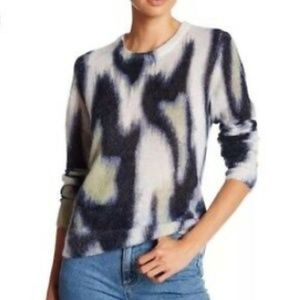 Equipment Femme Navy Abstract Mohair Sweater XS